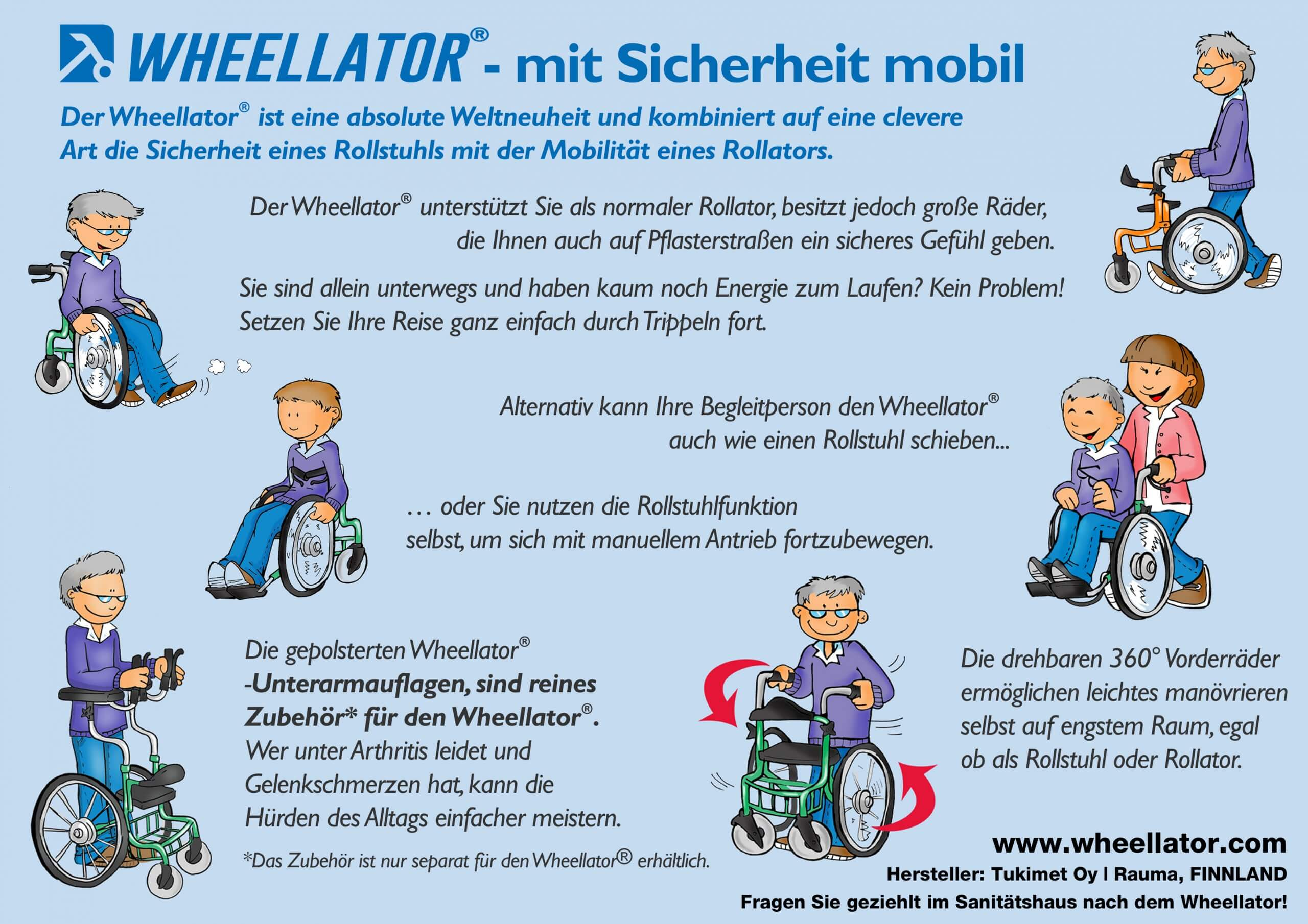 Rollator Rollstuhl 3 in 1 Wheellator